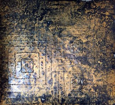 "Pyramids, Chris Fisher, gold leaf on tin, 2014, 18X20"""